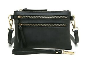 Aitbags-Zipper-Pocket-Crossbody-Bag-Women-039-s-Leather-Satchel-Handbag-Purse-Black