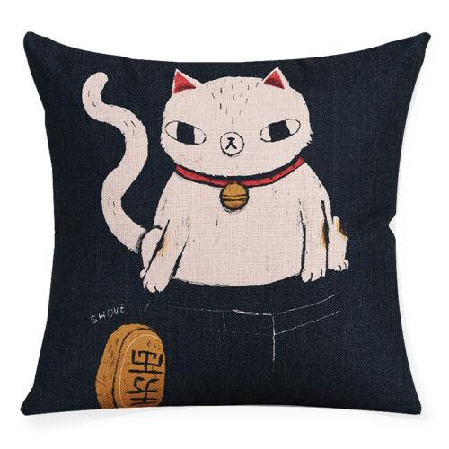 Japanese Cat Cotton Linen Pillow Case Sofa Throw Cushion Cover Home Decor