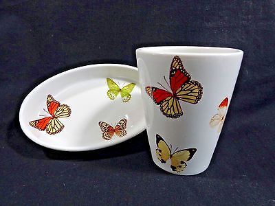 BUTTERFLY SOAP DISH AND RINSE CUP Monarch Ceramic Isaac Mizrahi for Target
