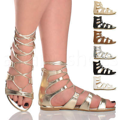 WOMENS LADIES LACE UP CROSS OVER WRAP AROUND STRAPPY GLADIATORS SANDALS SIZE | eBay