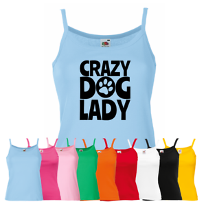 Cute Animal Lover Puppy Pup Doggie New Strap Top Ladies Crazy Dog Lady Vest
