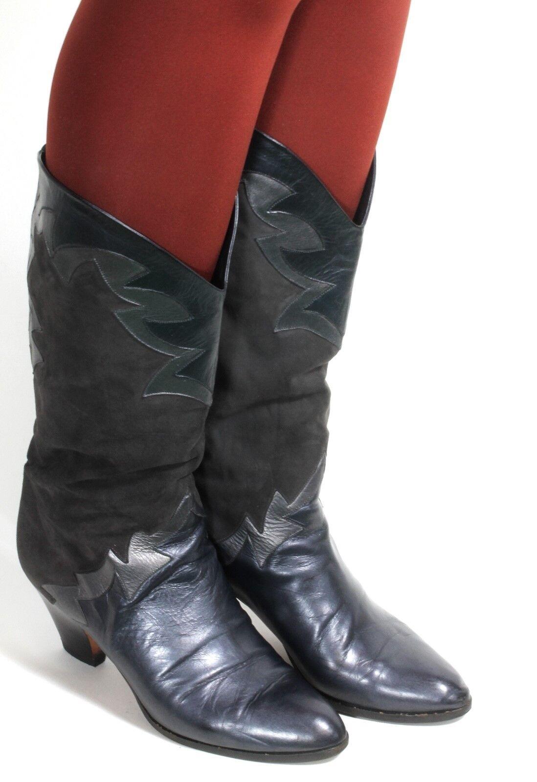 Leder Vintage Stiefel Blogger Metallic Damenstiefel Hipster Caravelle 37,5 - 38