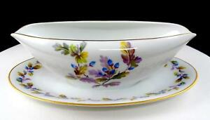 """NORITAKE JAPAN OAKWOOD BLUE ACORNS 9 3/8"""" GRAVY BOAT WITH ATTACHED UNDER PLATE"""