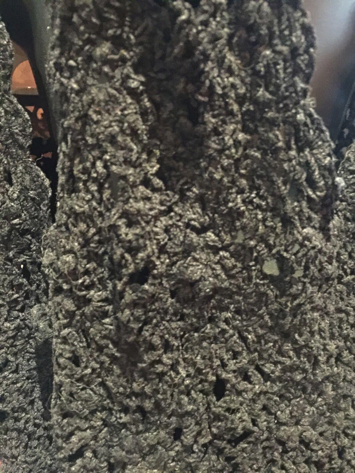 Vintage 1980's Black Chenille Crochet Lace Long S… - image 3