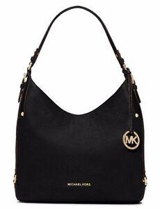 Details about New Michael Kors Bedford Belted Large Shoulder Bag black soft venus leather tote