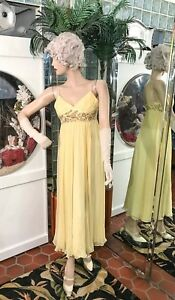 BCBG-MAXAZRIA-Yellow-Silk-Chiffon-Beaded-Embellished-Maxi-Gown-Dress-EMPIRE-XSMP