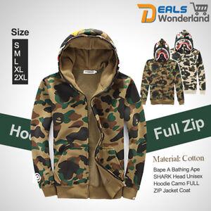 Bape A Bathing Ape Coat SHARK Head Hoodie Camo Unisex Pullover FULL ZIP Jacket