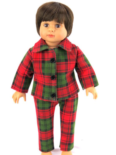 """Red and Green Plaid Pajamas Set Fits 18/"""" American Boy or Girl Doll Clothes"""