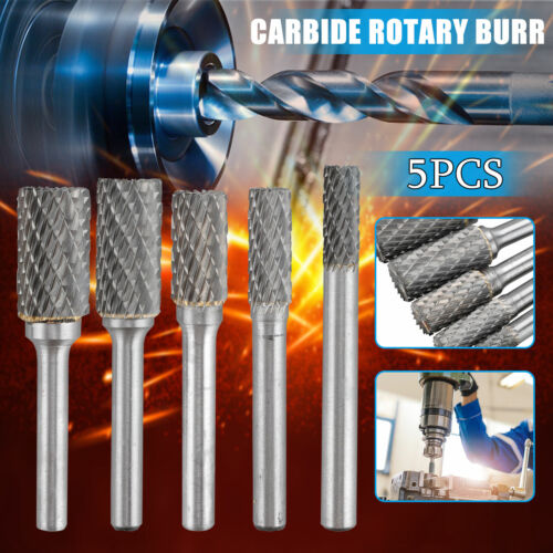 5Pcs Tungsten Carbide Burrs Rotary Burr Set Head 1//4/'/' Shank Die Grinder Bit US