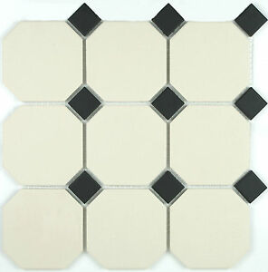 Victorian reproduction unglazed floor tiles - White Octagon c/w ...