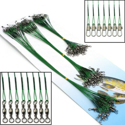 New 72pcs Fishing Trace Lures Leader Steel Wire Spinner Line Green Three Sizes