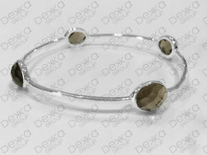 925-Sterling-Silver-Bangle-Bracelet-Gemstones-Smokey-Quartz-Smoky-Medium-Size