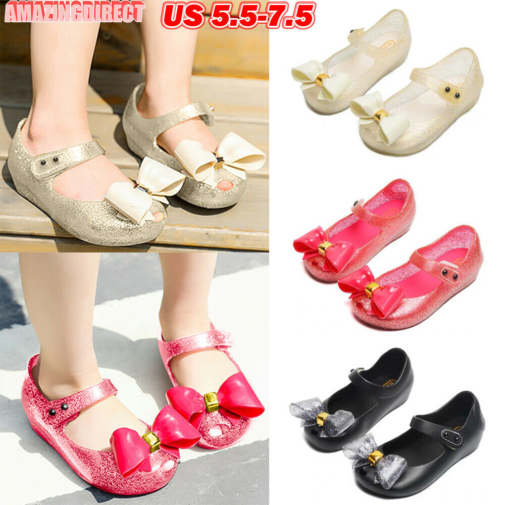 Toddler Girls Bownot Princess Shoes Summer Beach Flat Ankle Strap Jelly Sandals
