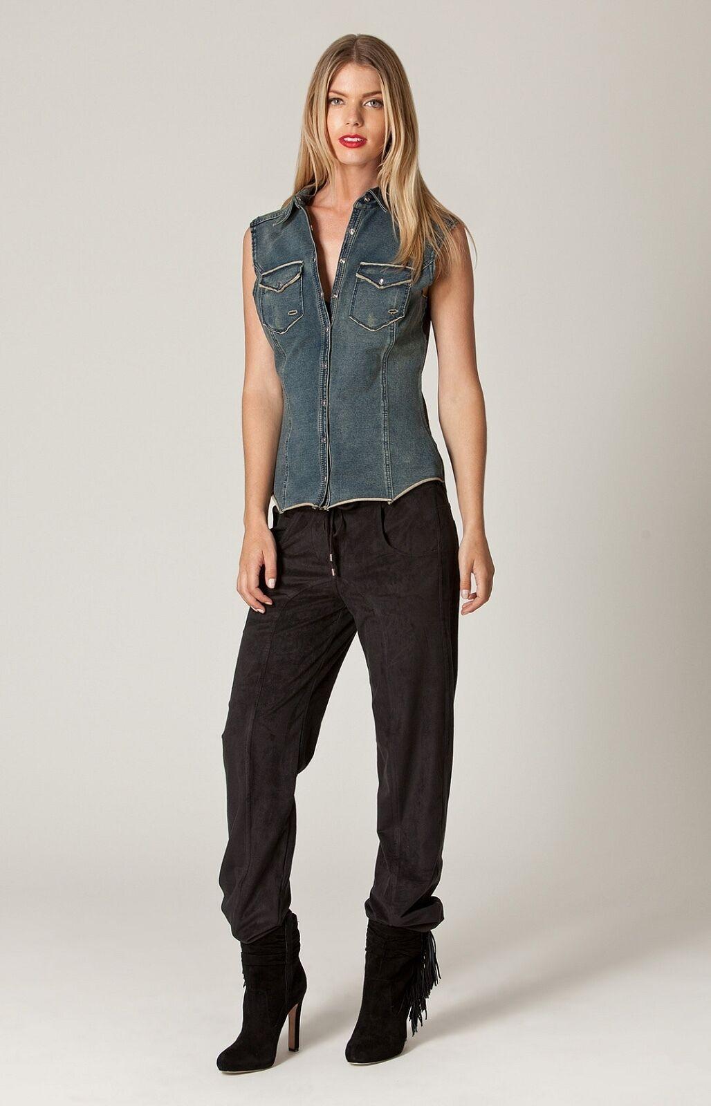 Liberty Garden Sleeveless Denim Shirt   Button Down   Leather XS NWT 5WES2705