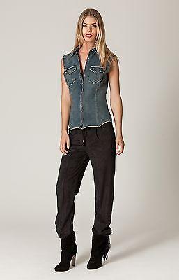 Black Ruffle Faux Leather Long Sleeve Shirt XS S M NWT Liberty Garden 4SDL2067 *