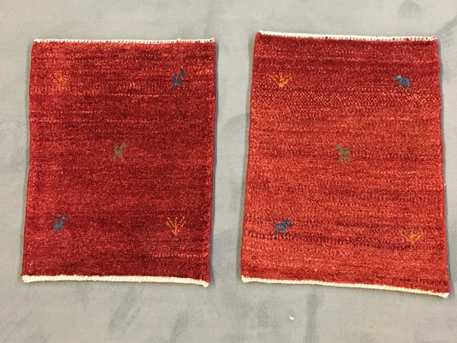 2 x veri yalamehbaff ROSSO Tappeti orientali Persiani Top (circa 55x40cm) NUOVO