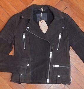 AllSaints-Women-039-s-Brand-New-Washed-Black-HUXLEY-Suede-Leather-Biker-Jacket-UK-8