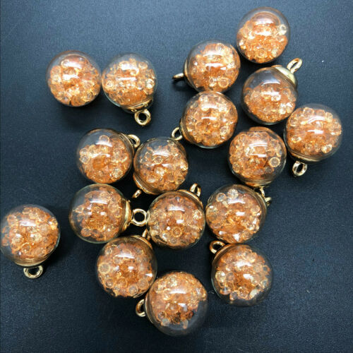 NEW 10PCS 16MM Mini Glass Bottles with Beads Pendant Ornaments Jewelry Making C