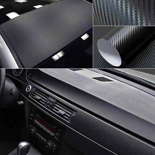 "DIY 12""x50"" 30x127cm 3D Texture CARBON Fiber Wrap Vinyl Decal Car Sticker Sheet"
