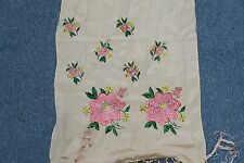 "Vintage Hand Embroidered Canton Piano Scarf Shawl 13"" x 60"" plus Macrame fringes"