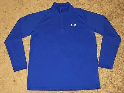 Men's Under Armour Heat Gear Loose 1/4 Zip Blue Shirt Size M Reputation First Activewear Tops