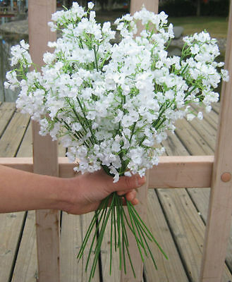 Lot 6pc/12pc White Baby's Breath Artificial Silk Flower Wedding Floral Art Decor