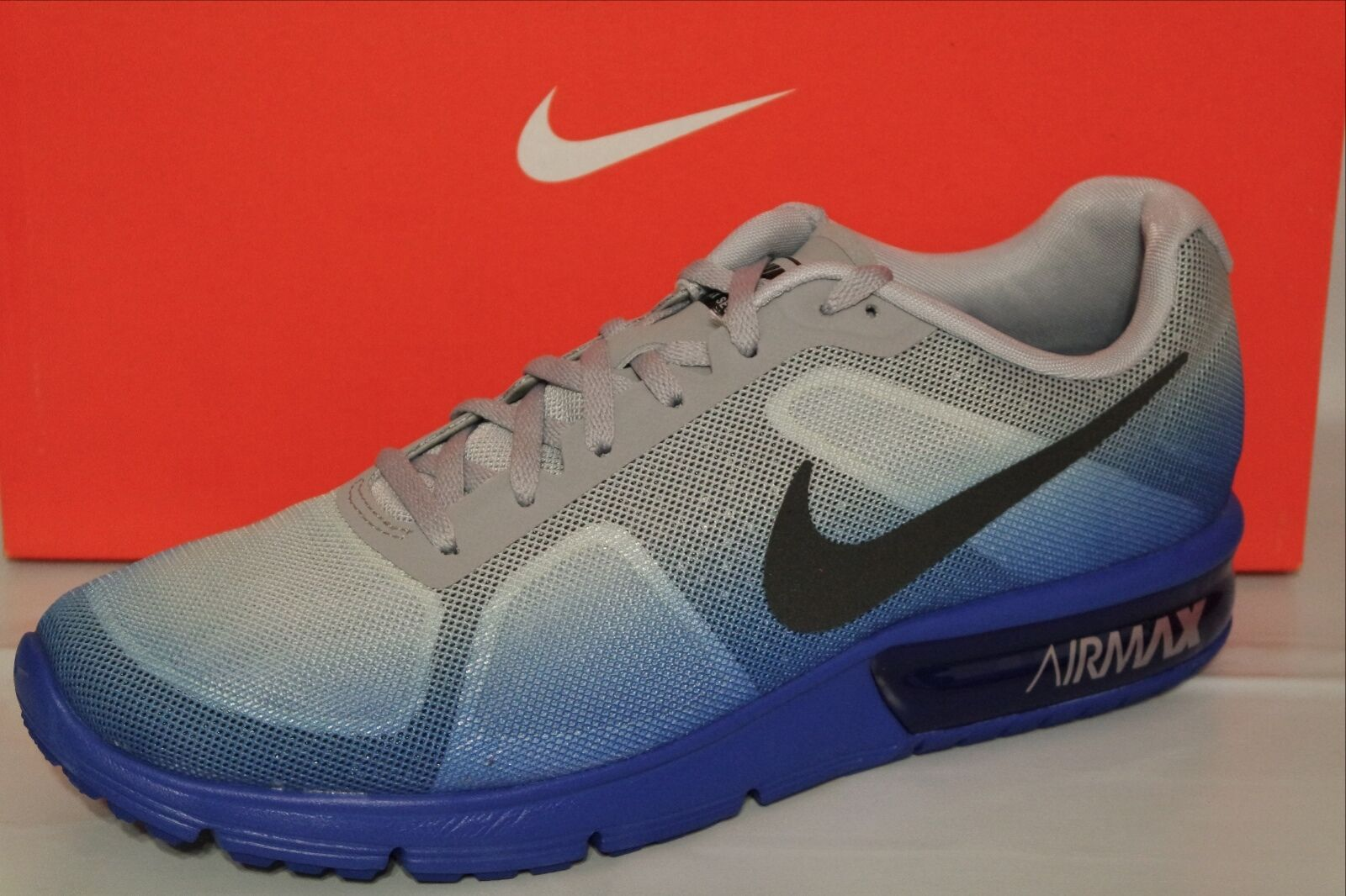 NIKE AIR MAX SEQUENT MEN'S'RUNNING SHOES, RACER BLUE/BLK/ GREY/WHITE 719912 405