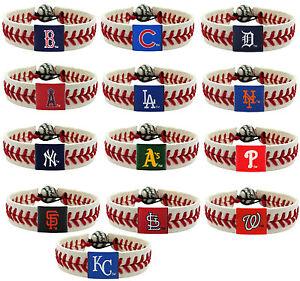 Image Is Loading Leather Baseball Bracelet Mlb Pick Your Team Wear