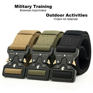 Quick-Release-Work-Belt-Tactical-Black-Mens-Army-Nylon-Metal-Buckle-Waistbelt