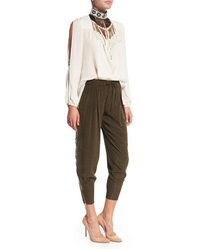 Haute Hippie  Embellished Tux Stripe Silk Pants, Dark Military   495.00 Size M