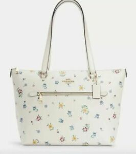 Coach Gallery Leather Tote with Wild Meadow Print - Gold/Chalk Multi (C4251)