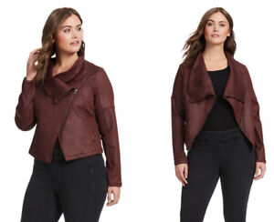 cd2e9df796a RWN By RAWAN Women s Moto Jacket ~ Red Waxed Denim Asymmetrical Zip ...