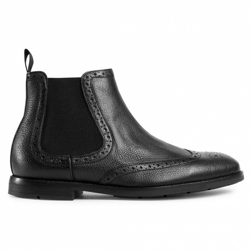 New Clarks Men's Ronnie Top Leather Chelsea Boots - Black / Size 10 UK