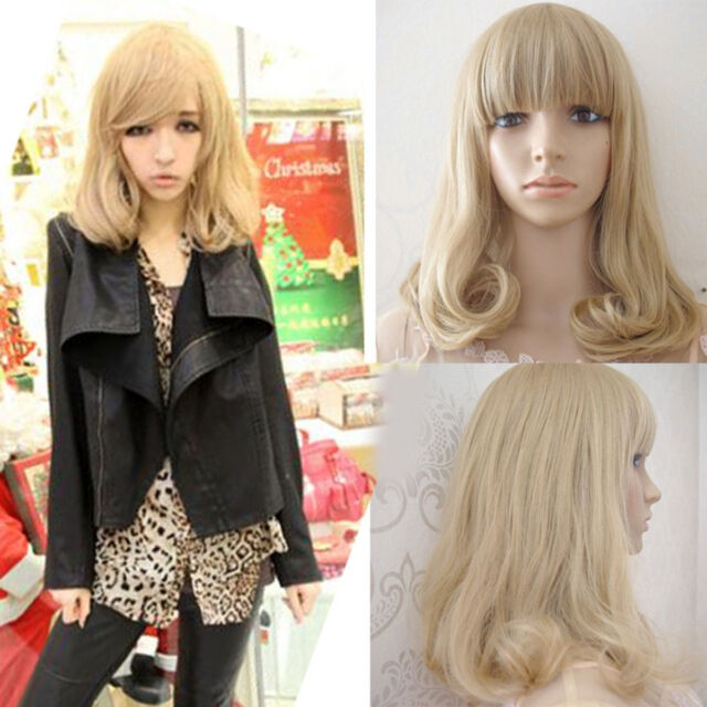 Lolita Blonde Wig Lady Women New Fashion Long Curly Wavy Hair Cosplay Full Wigs