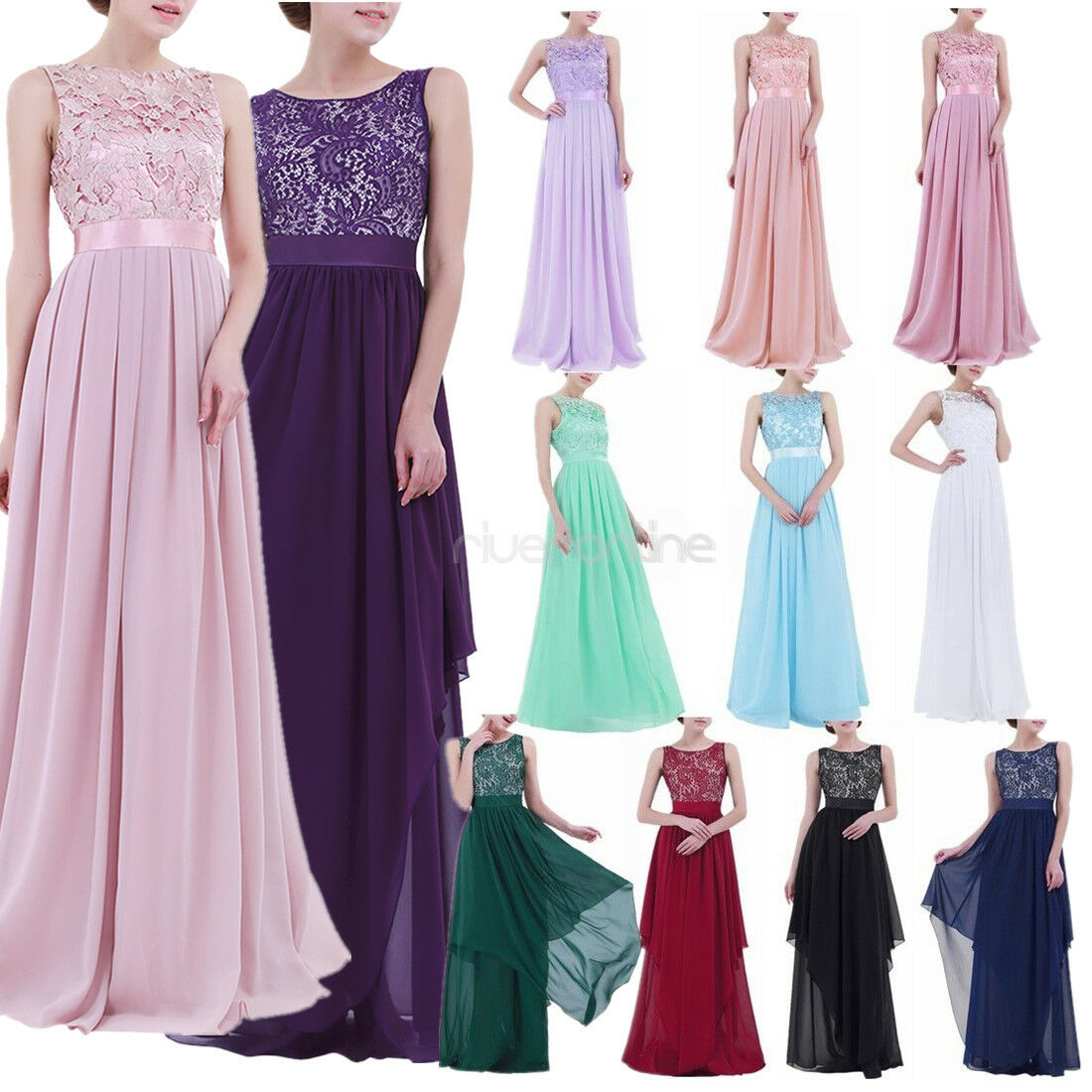Women Long Maxi Chiffon Dress Bridesmaid Dress Prom Gown Evening Party Cocktail