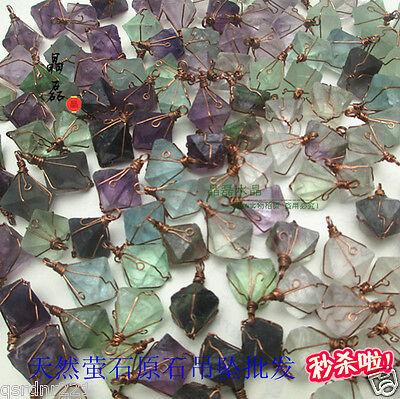 2X Natural crystal fluorite raw gemstone pendant Classic Flight about 12*12*12mm