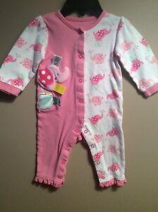 1225f1b72992 Baby Girls TAGGIES Elephant Pink Pajamas Layette Romper Size 9 ...