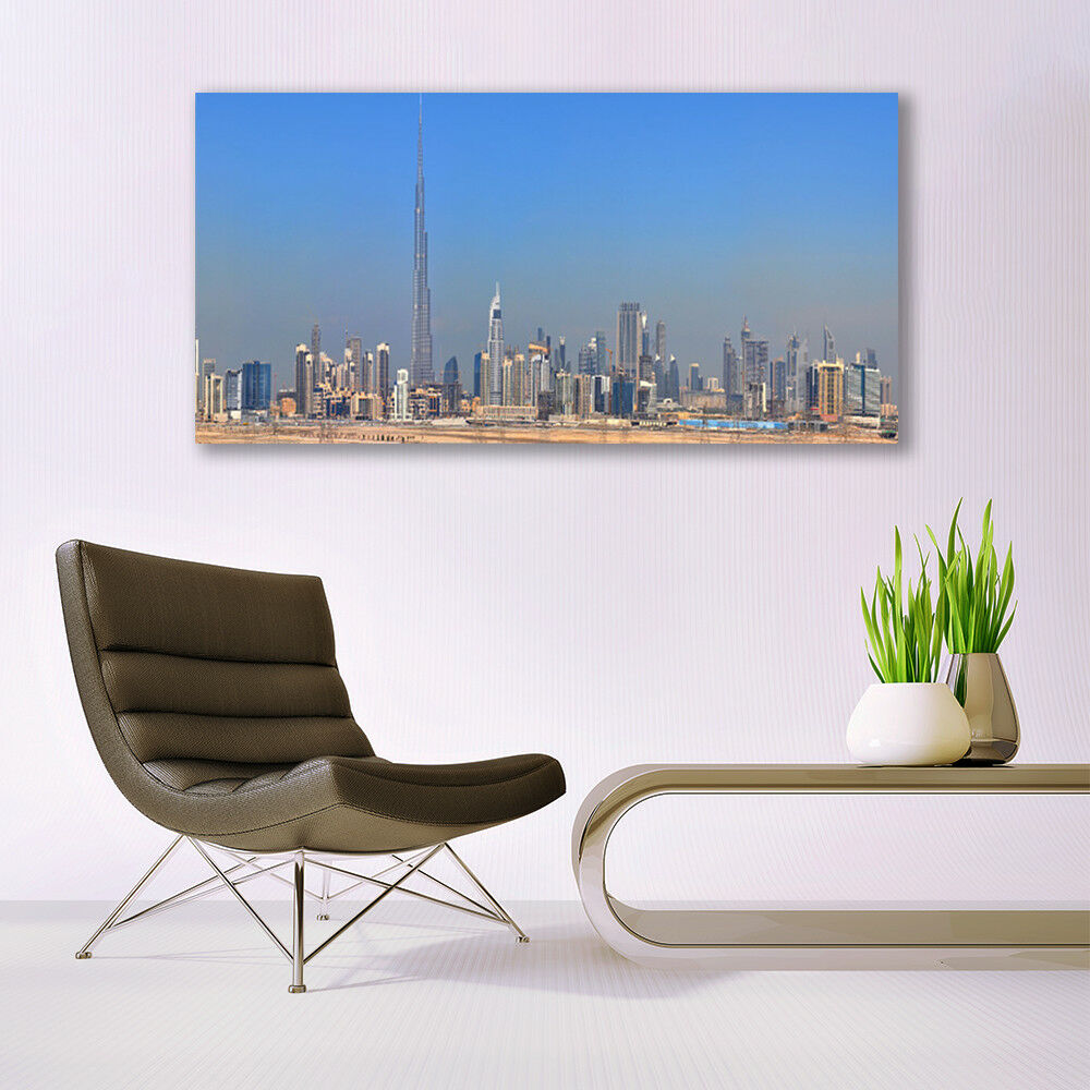 Print on Glass Wall Wall Wall art 140x70 Picture Image City Houses 56b231