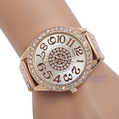 2015 Luxury Diamond Stainless Steel Rose Gold Quartz Wrist Hour Round Dial Watch