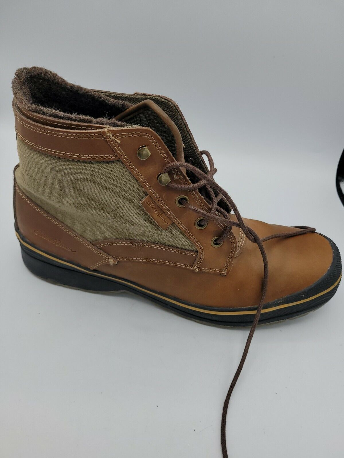 Eddie Bauer Trinity Brown Leather Canvas Lined Ankle Boots Mens 12M M10005
