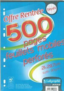 [Ref:9353C] CALLIGRAPHE Feuillets mobiles s/film 21x29,7 perforés 500p séyès