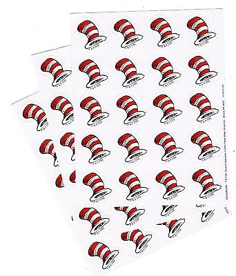 DR SEUSS Cat in the Hat Stickers Red /& White Hat 3 Sheets!