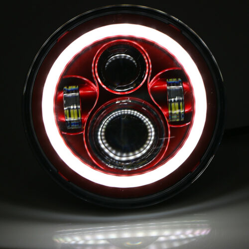 Motorcycle Car Classic 7/'/' Red 4 LED Halo Headlights For Harley Jeep Wrangler