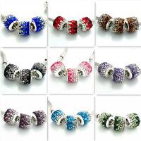 2pcs Silver European Charm Czech Rhinestone Beads fit Necklace Bracelet 10X12mm
