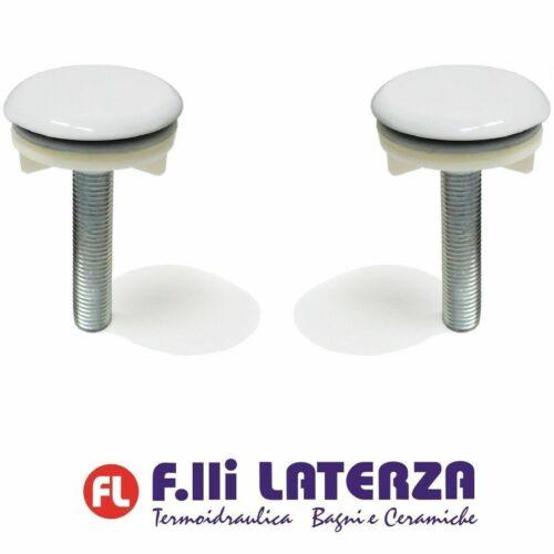 Pair Heavy Cap Cover Hole Brass White Caps copriforo basin bathroom