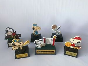 LOT-SIX-Vintage-Snoopy-Peanuts-Trophy-Statue-Award-Hong-Kong-Doctor-Coach-Sports