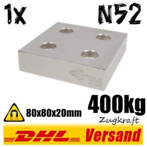 Sehr-starker-Neodym-Magnet-Quader-80x80x20mm-N52-mit-4-Bohrungen-vernickelt