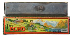 Vintage-M-Hohner-The-Echo-32-Hole-Harmonica-amp-Box-Germany-No-605