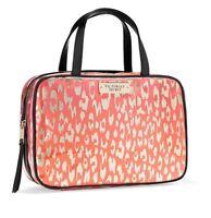 Victoria's Secret Pink Striped Hanging Make-up/train Case/travel Bag