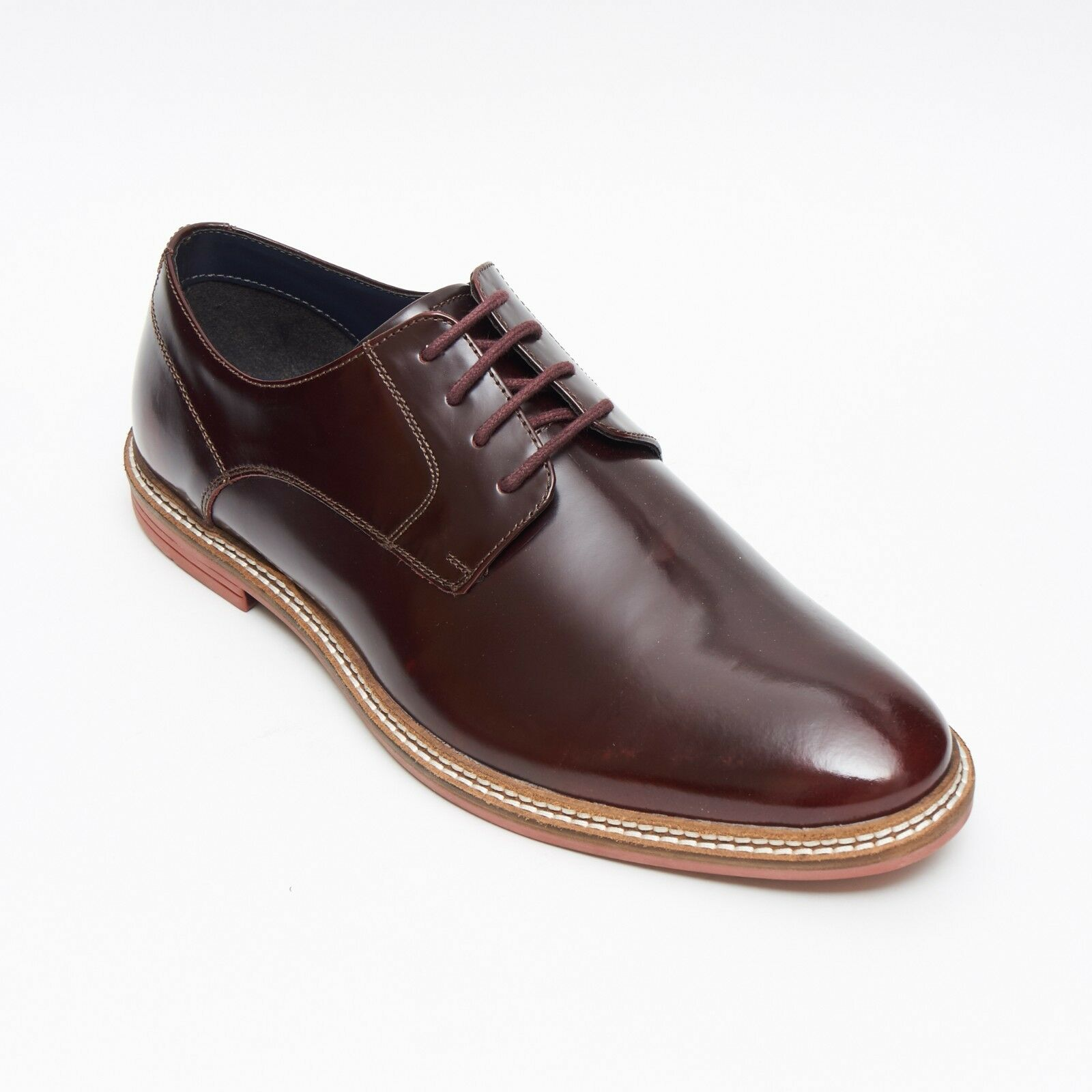 Lucini Formal Men Burgundy Leather Formal Lace-Up Shoes Wedding Office